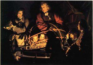'פילוסוף מרצה', ציור מאת ג'וזף רייט (1765), אחד הציורים המסמלים את עידן הנאורות והתפתחות המדע המודרני