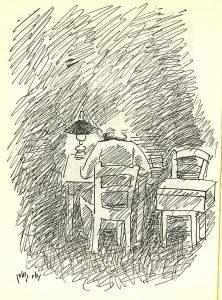 גורדון כותב בחדרו לפנות בוקר, רישום מאת נחום גוטמן
