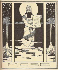 """""""משה"""" (1908): באיור מופיע הרצל כבן דמותו של משה המקראי. מקור: ויקיפדיה"""
